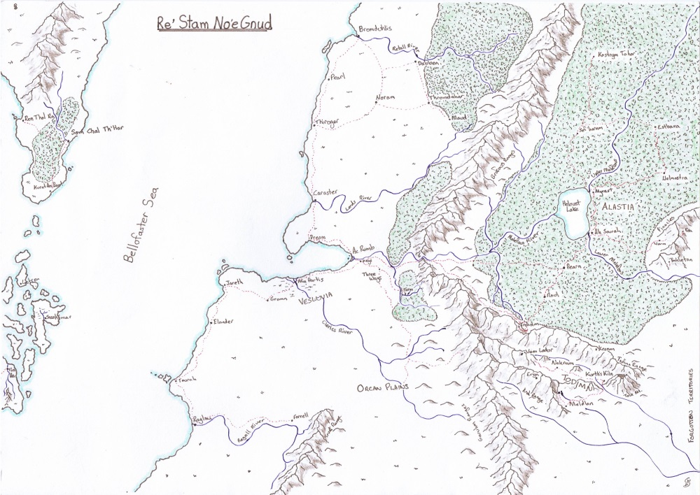 A region map of Re Stam Noe Gnud for the DnD 5e Campaign Slaves of Troustar